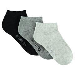 Σετ 3 ζευγάρια μονόχρωμες κοντές κάλτσες