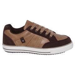 Χαμηλά αθλητικά παπούτσια από δύο υλικά με κορδόνια σε χρώμα καμηλό σοκολατί