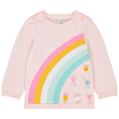Πλεκτό πουλόβερ με ζακάρ ουράνιο τόξο και φουντίτσες