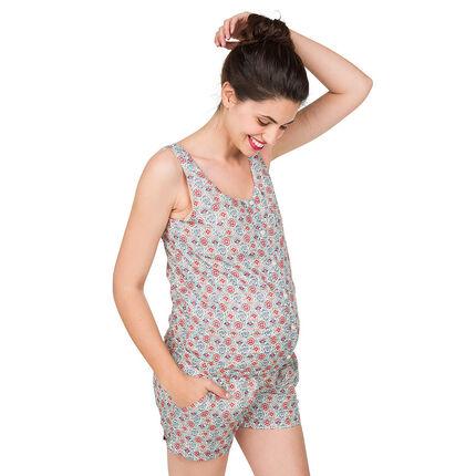 Ολόσωμη φόρμα-σορτς εγκυμοσύνης με εμπριμέ μοτίβο και κορδόνια στην πλάτη