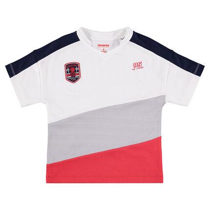 Κοντομάνικη μπλούζα με φαρδιές λωρίδες σε αντίθεση