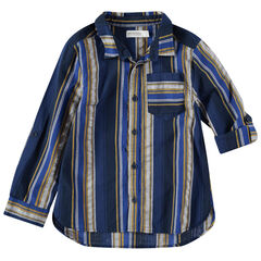 Μακρυμάνικο πουκάμισο με κάθετες ρίγες σε αντίθεση και τσέπη