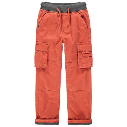 Πορτοκαλί παντελόνι cargo με τσέπες με επένδυση ζέρσεϊ