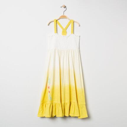 Μακρύ φόρεμα με ντεγκραντέ εφέ tie & dye και τιράντες στο βελονάκι