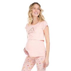 Μπλούζα πιτζάμας με χρυσαφί τύπωμα για την εγκυμοσύνη και το θηλασμό