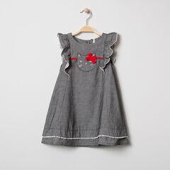Κοντομάνικο φόρεμα από σαμπρέ ύφασμα με κεντημένη γάτα