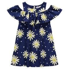 Φόρεμα με αζούρ σχέδιο στους ώμους και εμπριμέ μοτίβο λουλούδια σε όλη την επιφάνεια.