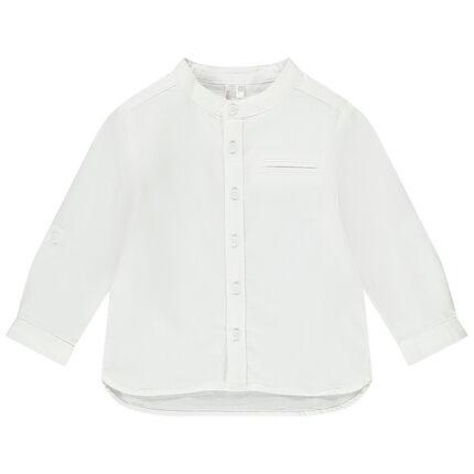 Μονόχρωμο μακρυμάνικο πουκάμισο με γιακά μάο