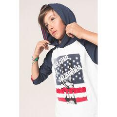 Παιδικά - Μακρυμάνικη μπλούζα με κουκούλα και τυπωμένο χεράκι