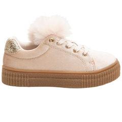 Βελουτέ αθλητικά παπούτσια με φουντίτσα και μεταλλιζέ ενίσχυση