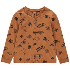 Μακρυμάνικη μπλούζα ζέρσεϊ με μοτίβο με θέμα σκέιτμπορντ