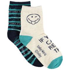Σετ 2 ζευγάρια ασορτί κάλτσες με ζακάρ μοτίβο Smiley