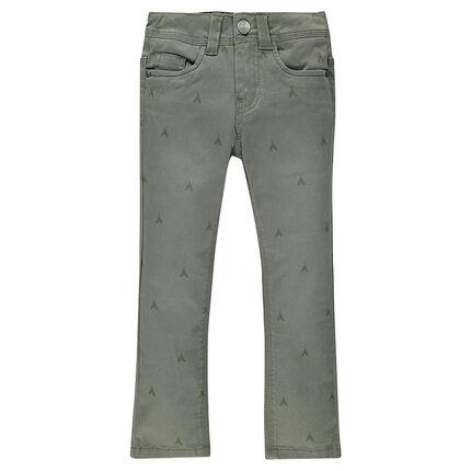 Pantalon coupe slim en toile imprimé