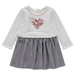 Μακρυμάνικο φόρεμα 2 σε 1 με στάμπα καρδιά