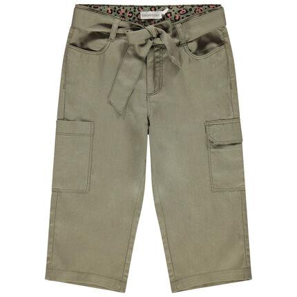 Pantacourt χακί με τσέπες  και ζώνη φουλάρι