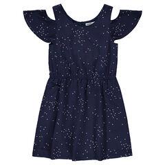 Φόρεμα με άνοιγμα στους ώμους και φαντεζί εμπριμέ μοτίβο