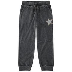 Βελουτέ παντελόνι φόρμας με αστέρι από πούλιες