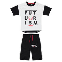Παιδικά - Σύνολο με κοντομάνικη μπλούζα ζέρσεϊ με μήνυμα και στάμπα ©Smiley