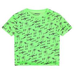Κοντομάνικη μπλούζα από ζέρσεϊ με διακοσμητικό μοτίβο σε όλη την επιφάνεια