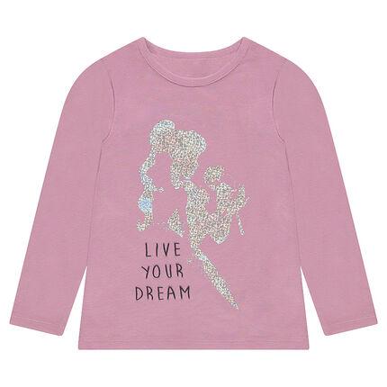 Μονόχρωμη μπλούζα από ζέρσεϊ με μεταλλιζέ στάμπα πριγκίπισσα