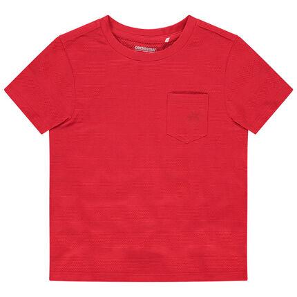 Κοντομάνικη μπλούζα με φαντεζί ρίγες και τσέπη με στάμπα φοίνικα