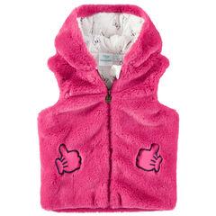 Αμάνικη ζακέτα από ροζ συνθετική γούνα με κουκούλα και μοτίβο Μίνι της Disney