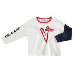 Μακρυμάνικη ζέρσεϊ μπλούζα με τυπωμένη καρδιά και μπουκλέ σήμα