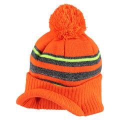 Bonnet en tricot avec pompon et visière intégrée