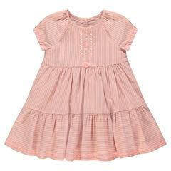 Ριγέ φόρεμα από λεπτό βαμβακερό ύφασμα με κέντημα και φουντίτσα