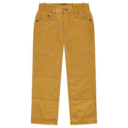 Παντελόνι τουίλ μουσταρδί με επένδυση ζέρσεϊ