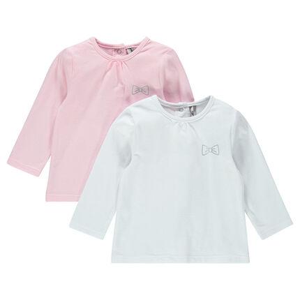 Σετ με 2 μονόχρωμες μακρυμάνικες μπλούζες με τυπωμένο ασημί φιόγκο