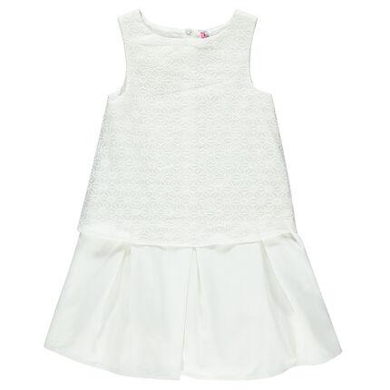 Παιδικά - Φόρεμα 2 σε 1 κρεπ και δαντέλα με γεωμετρικά σχέδια