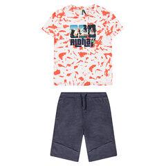 Παιδικά - Σύνολο μπλούζα με στάμπα σε στυλ shibori και φανελένια βερμούδα