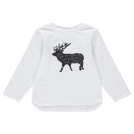 Κοντομάνικη μπλούζα από ζέρσεϊ slub ύφασμα με τύπωμα τάρανδο