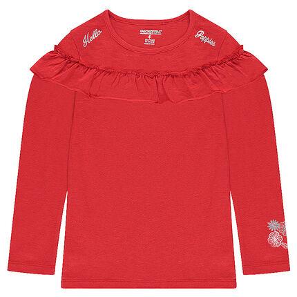 Μακρυμάνικη μπλούζα από ζέρσεϊ με βολάν και ασημί τύπωμα