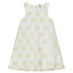Αμάνικο φόρεμα με χρυσαφί λουλούδια από δαντέλα