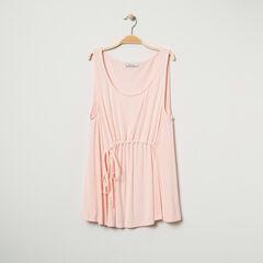 Αμάνικο μπλουζάκι σε μελανζέ ύφανση με κορδόνια που σφίγγουν