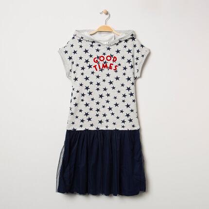 Παιδικά - Φόρεμα 2 σε 1 από δύο υλικά με μοτίβο αστέρια και τούλι