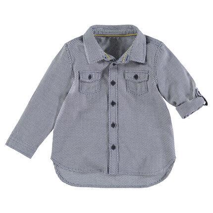 Μακρυμάνικο πουκάμισο με διακριτικό εμπριμέ μοτίβο