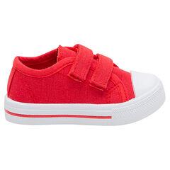 Χαμηλά μονόχρωμα κόκκινα υφασμάτινα αθλητικά παπούτσια με αυτοκόλλητο velcro, σε νούμερο 24 έως 27