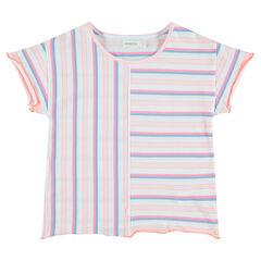 Παιδικά - Κοντομάνικη μπλούζα με ρίγες σε αντίθεση