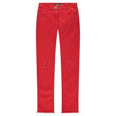 Παιδικά - Μονόχρωμο παντελόνι skinny με used όψη