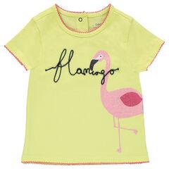 Κοντομάνικη μπλούζα ζέρσεϊ με στάμπα ροζ φλαμίνγκο με παγιέτες