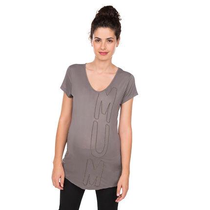 Κοντομάνικη μπλούζα εγκυμοσύνης με κεντημένα γράμματα