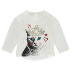 Κοντομάνικη μπλούζα από ζέρσεϊ slub με διακοσμητικό σχέδιο